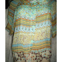Camisa Feminina Estampada Crepe De Seda 42