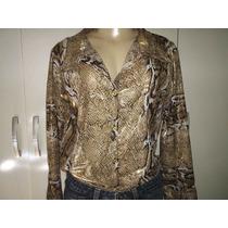 Camisa Feminina Crepe Seda Estampa Animal Print M