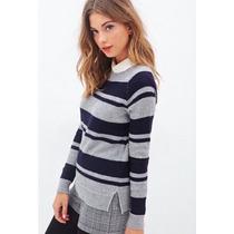 Casaco Moletom Sweater Malha Forever 21 Cor Azul E Cinza