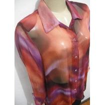 Camisa Feminina Crepe Seda Estampa Tye Die M