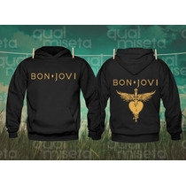 Canguru Moletom Bon Jovi Bandas Casaco Capuz Bolsos Moleton