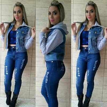 Casaco Colete Jeans Moletom Feminino Instagran