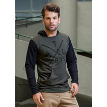 Blusa| Casaco| Moleton Masculino Cinza Escuro Com Capuz