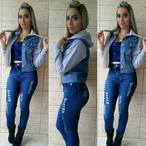 Jaqueta Feminina Jeans Com Moletom