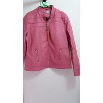 Jaqueta De Couro Ecológico Plus Size Feminina Rosa