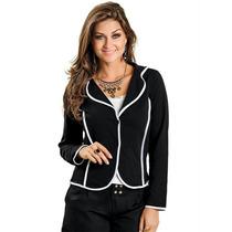 Blazer Feminino Fashion Ótima Qualidade Preto Curto C/ Botão