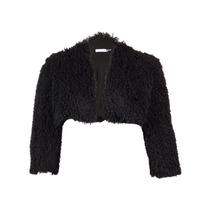 Calvin Klein Da Mulher Negra Pequeno Faux Fur Bolero Shrug