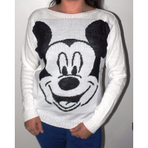 Blusa Lã Tricot Feminina Minnie Mickey Manga Longa Inverno