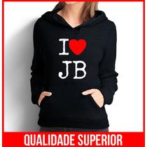 Moletom I Love Justin Bieber Feminino Casaco Canguru/blusa