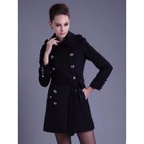 Sobretudo Importado- Gg Trench Coat Elegante Em Lã Clássico