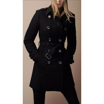 Sobretudo Importado Gg Trench Coat Elegante Luxuoso Preto Lã