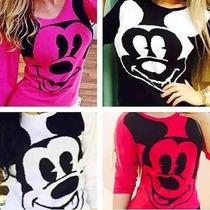 Blusa De Frio Feminina De Lã Trico Minnie Mickey