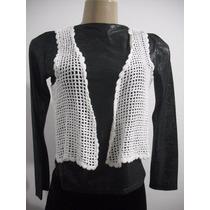 Colete Feminino Branco Tipo Croche - Trico, Tam P Bom Estado
