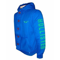 Blusa De Moletom Hollister Azul Claro Botão Hlj