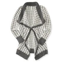 Aeropostale Espinha De Peixe Mulheres Knit Cardigan Sweater