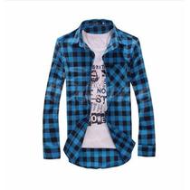 Camisa Casual Manga Longa Slim Fit Xadrez - Pronta Entrega