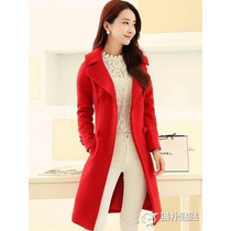 Trench Coat Importado G- Elegante, Boneca, Em Lã, Vermelho