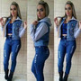 Jaqueta Feminina Jeans Com Moletom Roupa Feminina