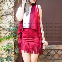Colete Franja Camurça Suede Moda Blogueira