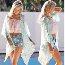 Kimono Feminino Cardigan Saída De Praia Floral Estampado