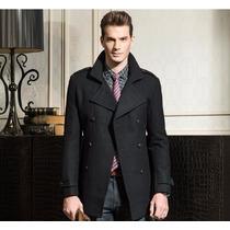 Sobretudo Importado M- Masculino Lã Cinza Elegante Luxuoso