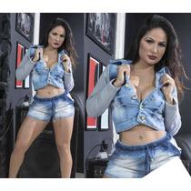 Jaqueta Feminina Jeans Com Moletom Lançamento Outono Inverno