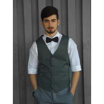 Colete Preto Oxford Masculino Pronta A Entrega Social Slim
