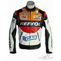 Jaqueta Motociclista Repsol Couro Pu - Oferta Relâmpago