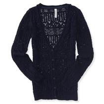 Aeropostale Womens Abrir Knit Namorado Cardigan Sweater