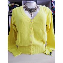 Casaco Biamar - Detalhe Crochê - Amarelo