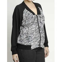 Jaqueta Casaco Blusa Plus Size Animal Print Zebra Tamanho 50