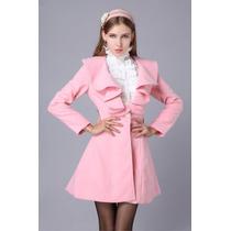 Casaco Feminino Trench Coat Sobretudo Rosa Pronta Entrega