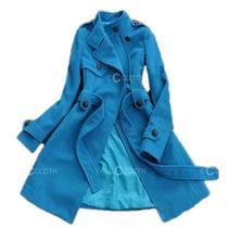 Liquidação Casaco Trench Em Lã, Azul, P / M