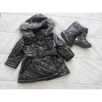 Casaco De Frio-capa De Chuva E Bota Importado Menina