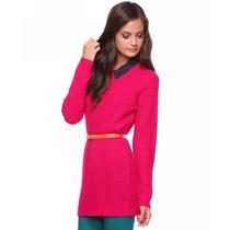 Blusa Suéter Forever 21 Rosa Pink Em Tricô Com Gola E Cinto