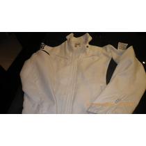 Jaqueta Branca Moto - Detalhes Em Preto Tam M
