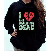 Moletom I Love The Walking Dead Blusa Canguru Com Capuz