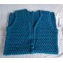 Colete Feminino Comprido De Crochê Azul Petróleo De Lã Tam.p
