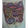 Shorts Saia Estampado Em Tecido De Algodão Com Elastano - M