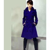 Sobretudo Importado Eg- Militar Elegante Feminino, Lã, Azul