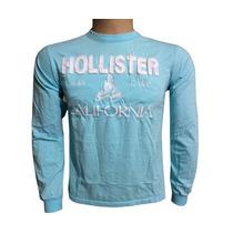 Camisa Hollister Manga Longa Azul Bb - Hl010