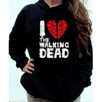 Blusa Moletom I Love The Walking Dead Canguru Com Capuz