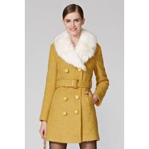 Maravilhoso Casaco Importado Em Lã Com Cinto E Gola De Pelo