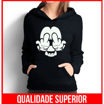 Moletom Mickey Fockyou Feminino Casaco Canguru/blusa De Frio