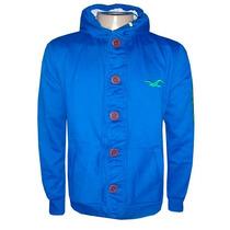 Blusa De Moletom Hollister Azul Royal Botão Hlj14