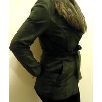 Casaco Blazer Sobretudo Couro Antilope Gola Pelo Fashion Tng