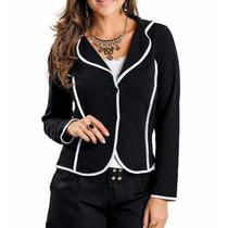 Blazer Feminino Estampado Casaco Bicolor Preto E Branco