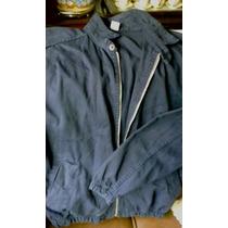 Jaqueta De Brim Com Ziper Cintura Elastica