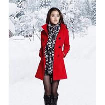 Casaco Sobretudo Trench Coat Em Lã Feminino Inverno Frio