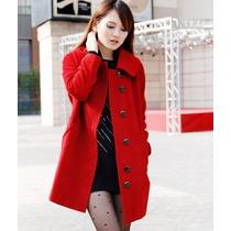Sobretudo Importado Gg Luxuoso Lã Casual Elegante Vermelho